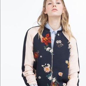 🌿 Zara Floral Bomber Jacket